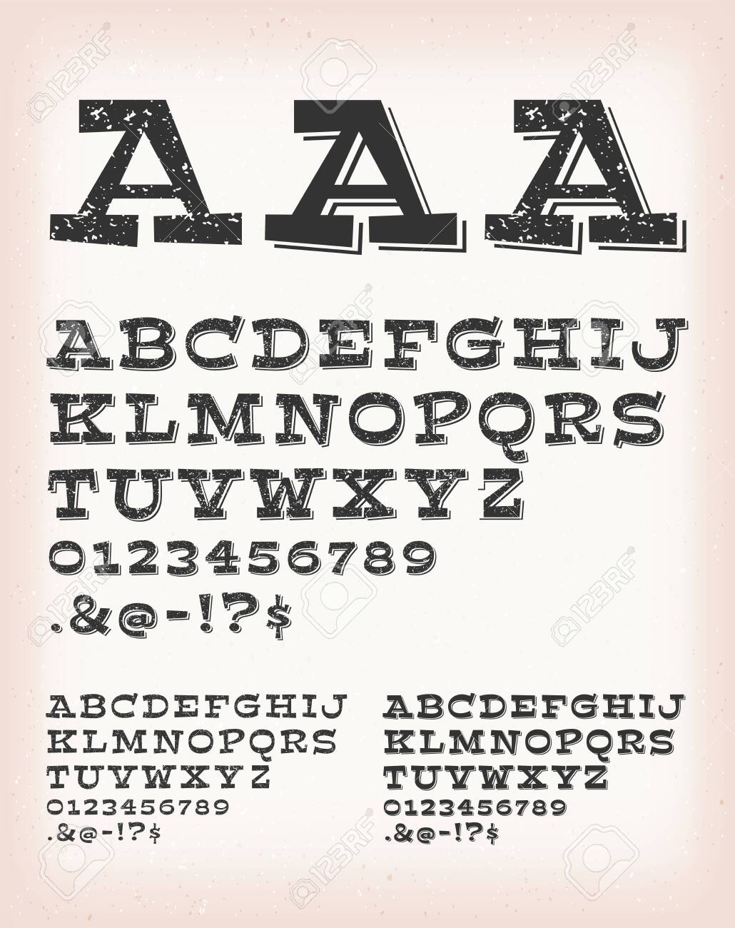 Illustration of a set of retro western design comic and cartoon abc typefont, in regular, grunge and shadow version, also working for tattoo, on vintage and grunge background - 138547713