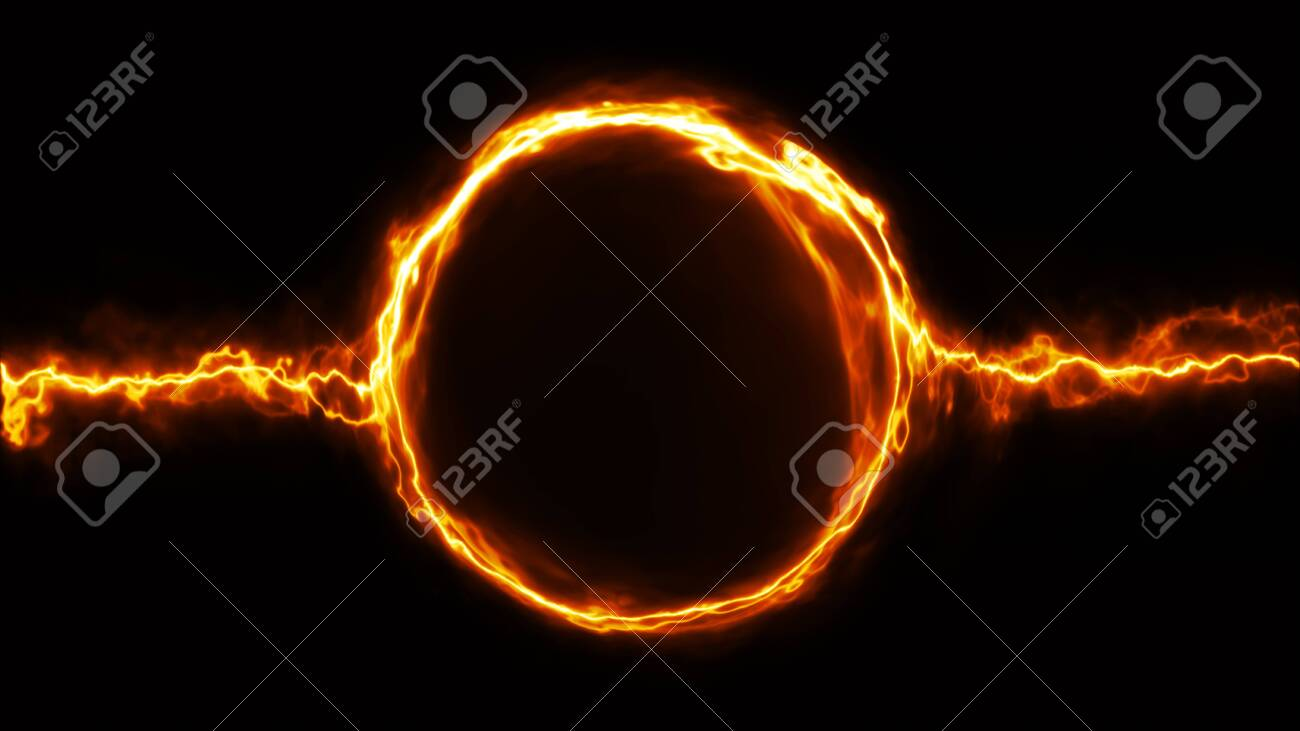 Illustration of a scifi fantasy electric plasma ring background with electric neon strokes - 141066589