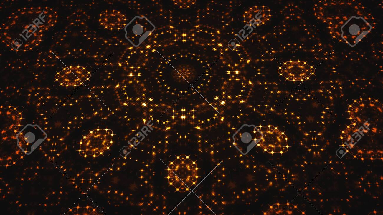 Illustration of an abstract design background with kaleidoscope digital led lights and glowing dots with camera rotation effect - 143238020