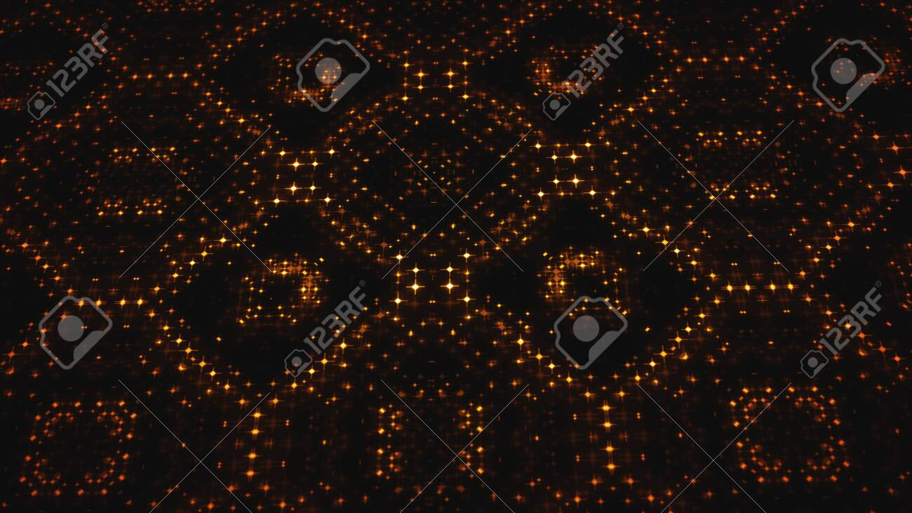 Illustration of an abstract design background with kaleidoscope digital led lights and glowing dots with camera rotation effect - 143237966