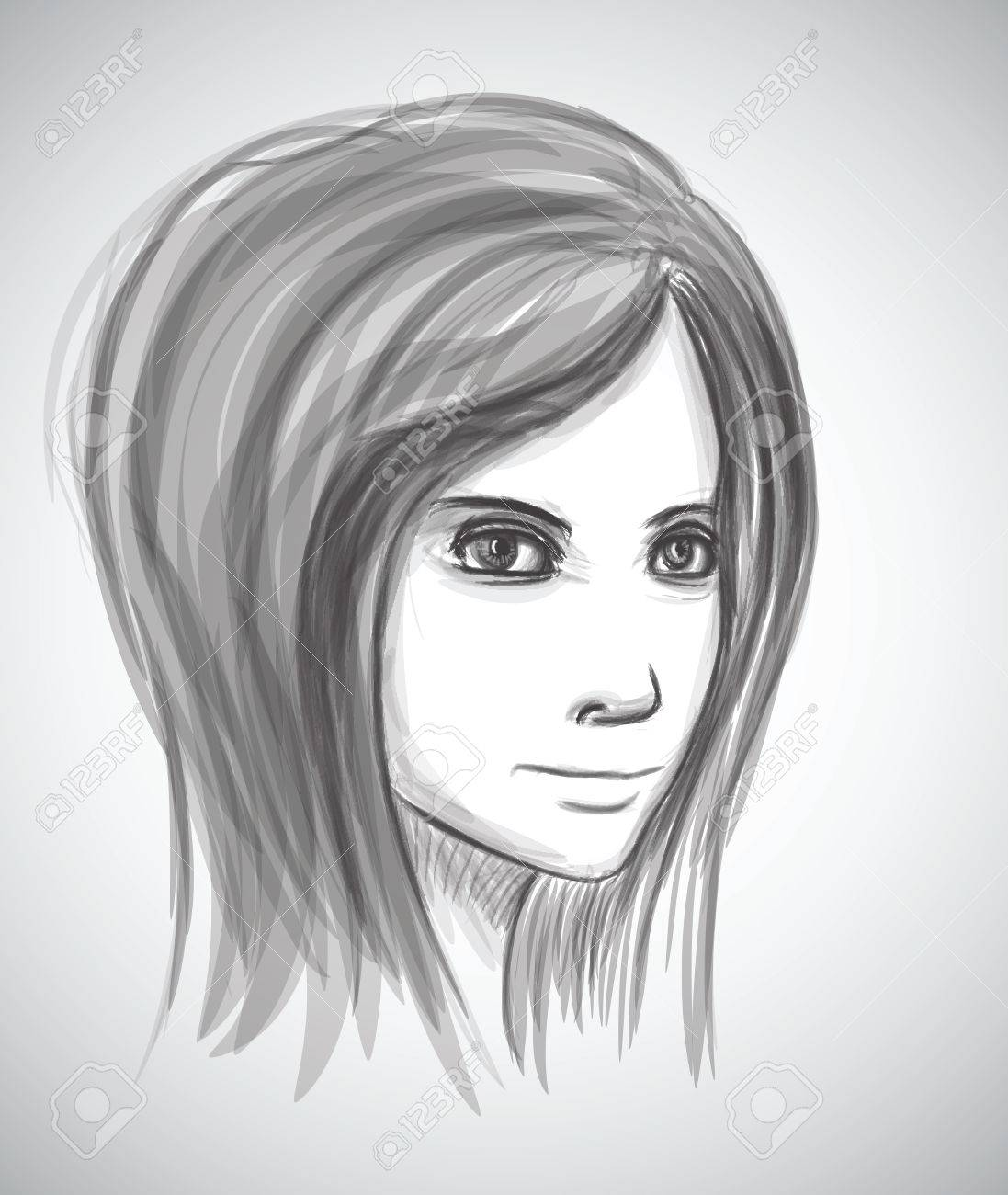 Beauty girl face pencil sketch portrait imitation in vector stock vector 24931897