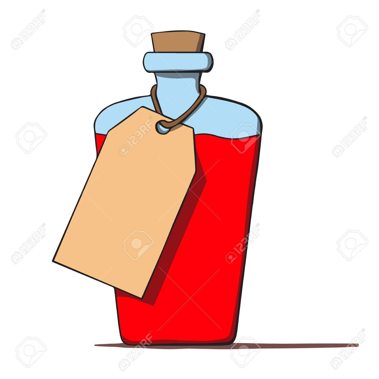 Cartoon bottle with a tag  Vector illustration Stock Vector - 25259462