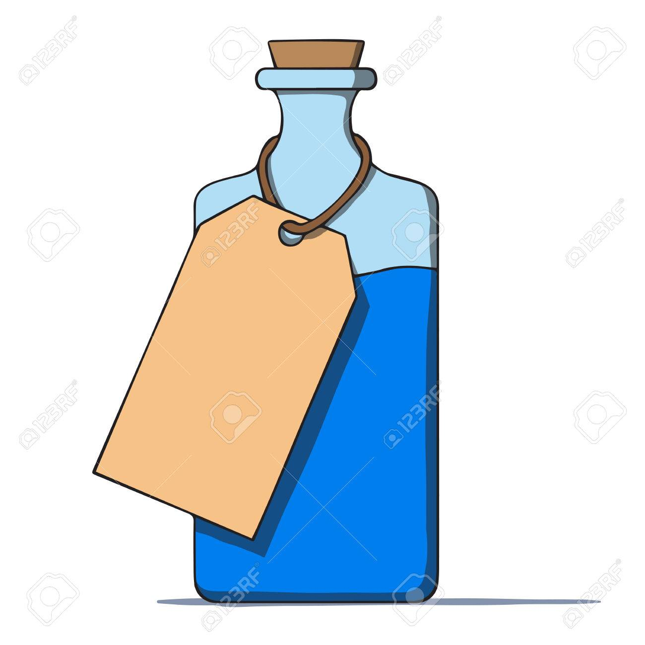 Cartoon bottle with a tag  Vector illustration Stock Vector - 25259476