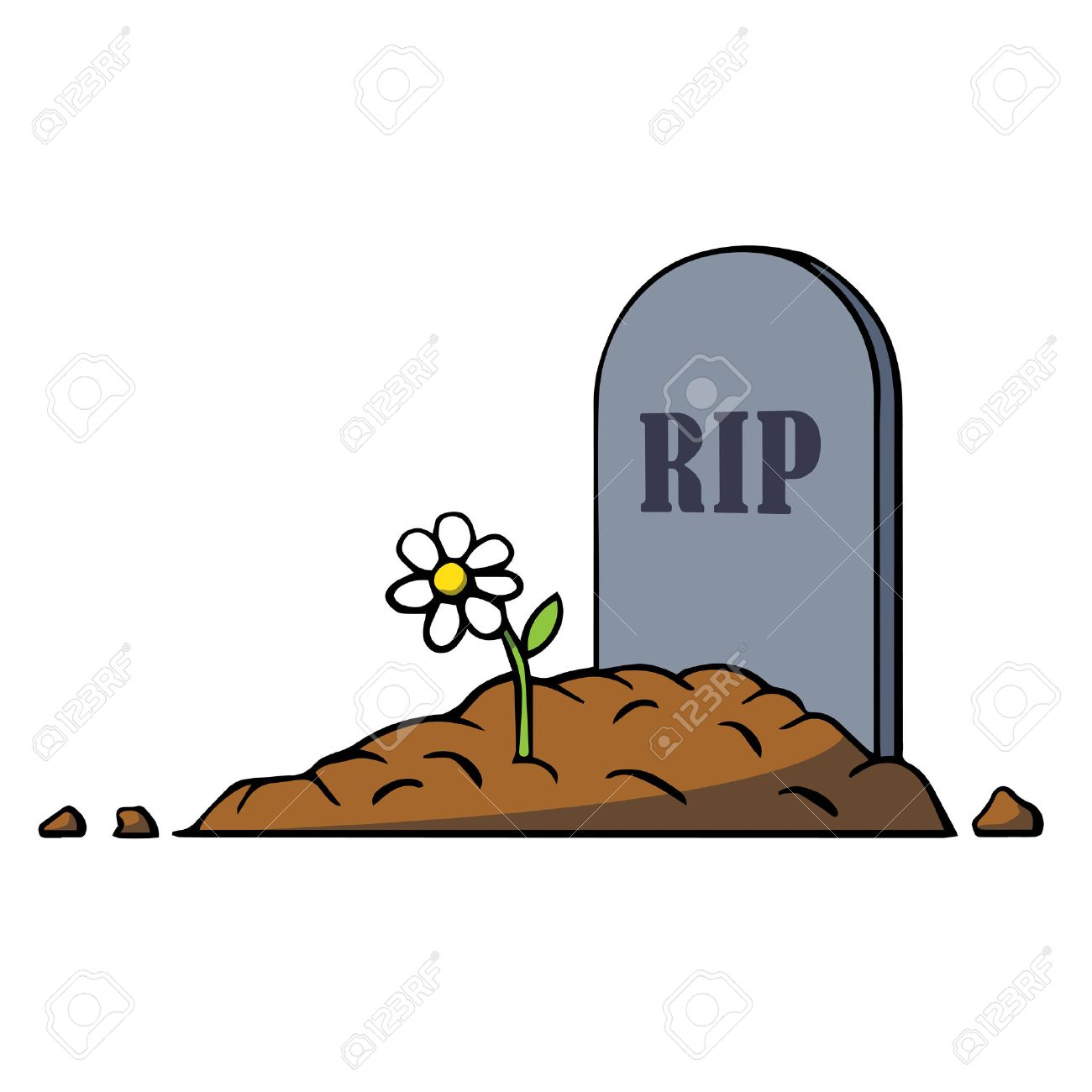 cartoon grave with tombstone and flower vector illustration royalty rh 123rf com