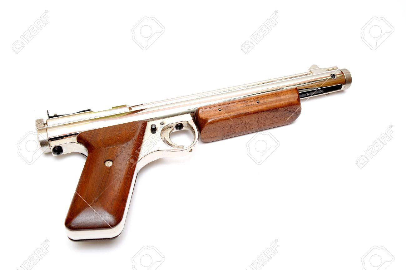 A  177 caliber pellet gun also known as an air gun on a light
