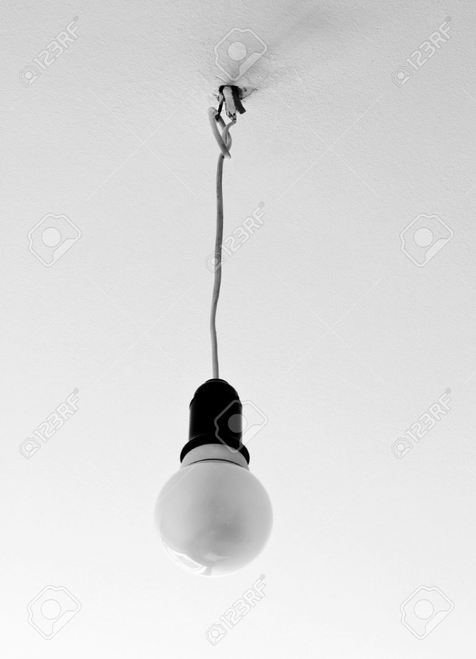 Light bulb hanging from the ceiling in black and white colors stock light bulb hanging from the ceiling in black and white colors aloadofball Image collections