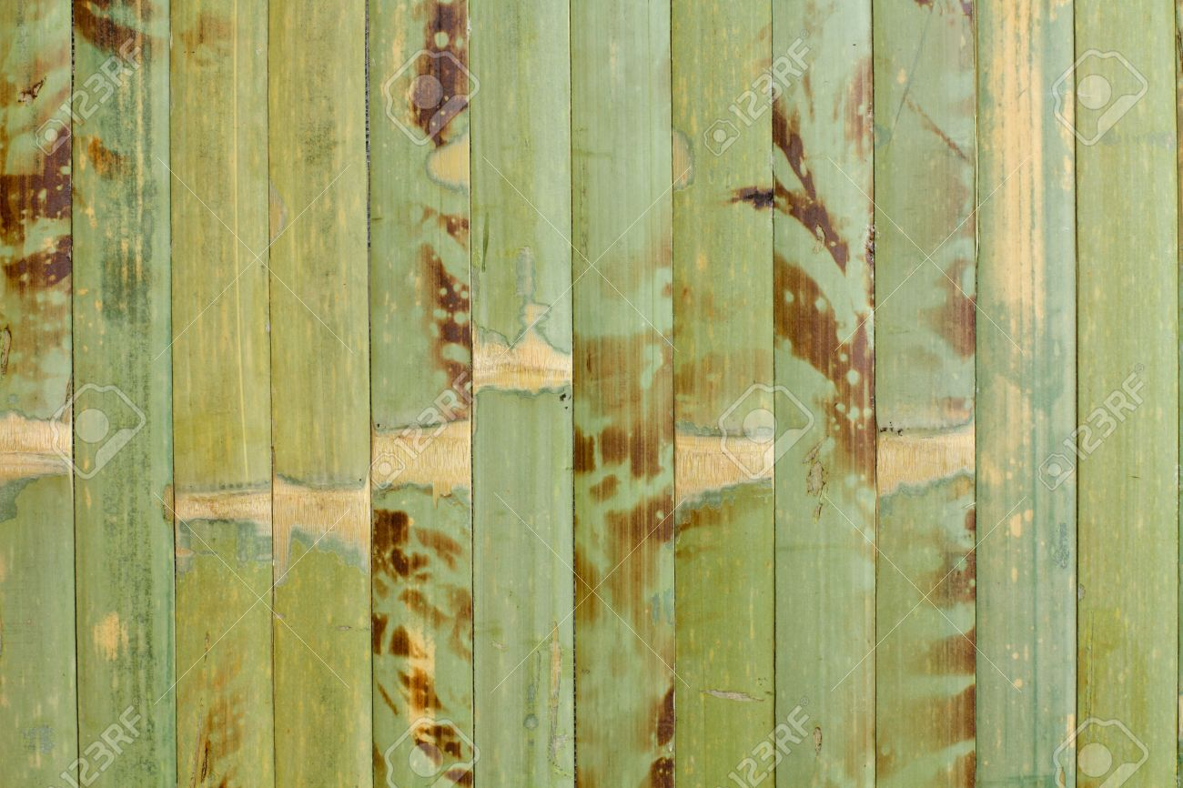 Sample Of Homogeneous Texture Green Wood Bamboo Wallpaper Stock Photo