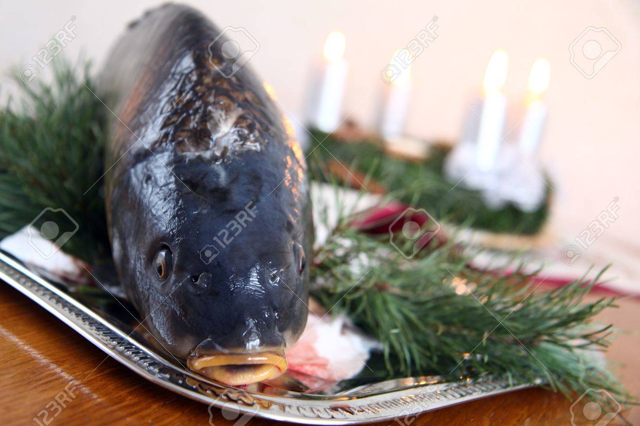 Czech tradition - carp on Christmas table Stock Photo - 7736055
