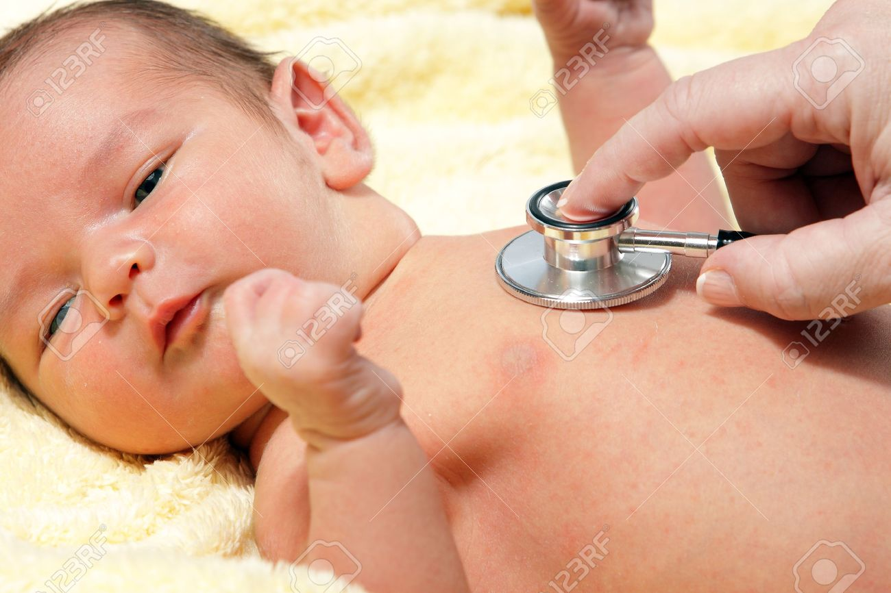 Stethoscope listening to a baby Stock Photo - 10482661