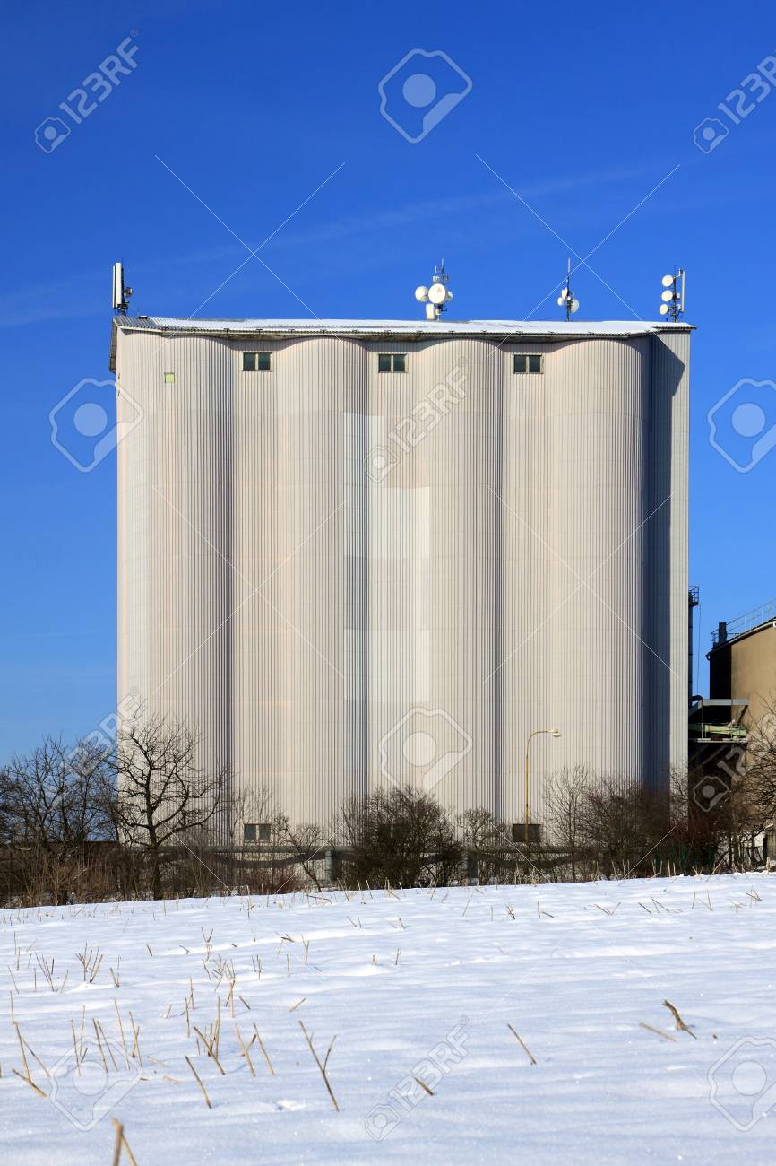 Czech Republic - agriculture silo on grain in winter Stock Photo - 16928324