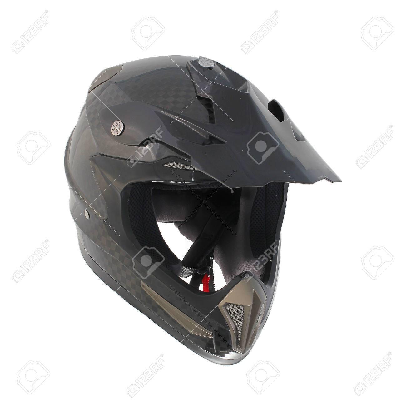 Carbon Fiber Motorcycle Helmets >> Motocross Motorcycle Helmet Isolated On White Background Black