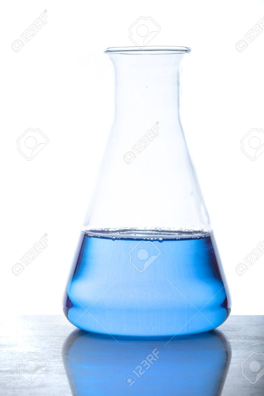 A glass flask with blue fluid in used in chemistry experiments