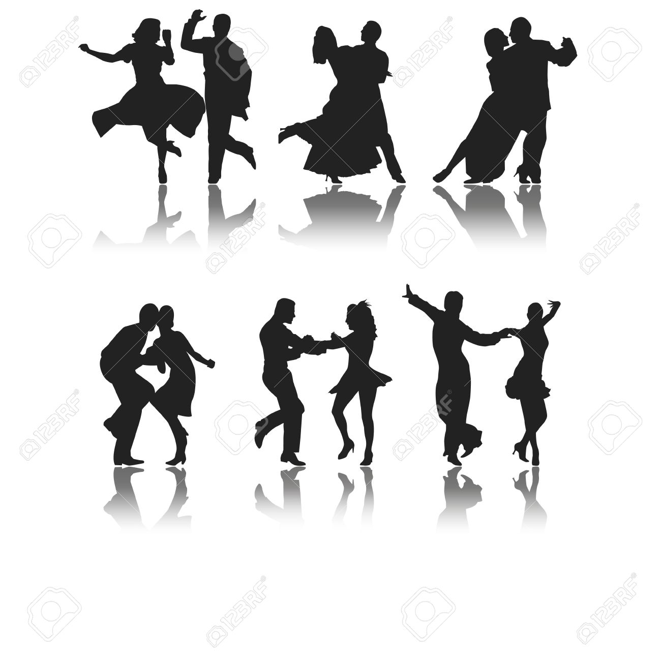 set of six silhouettes of different types of dance - 27555100