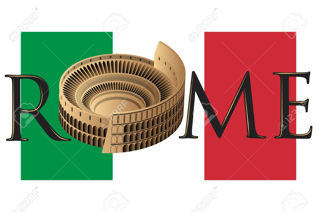 roman colosseum over flag of italy and text of rome royalty free rh 123rf com