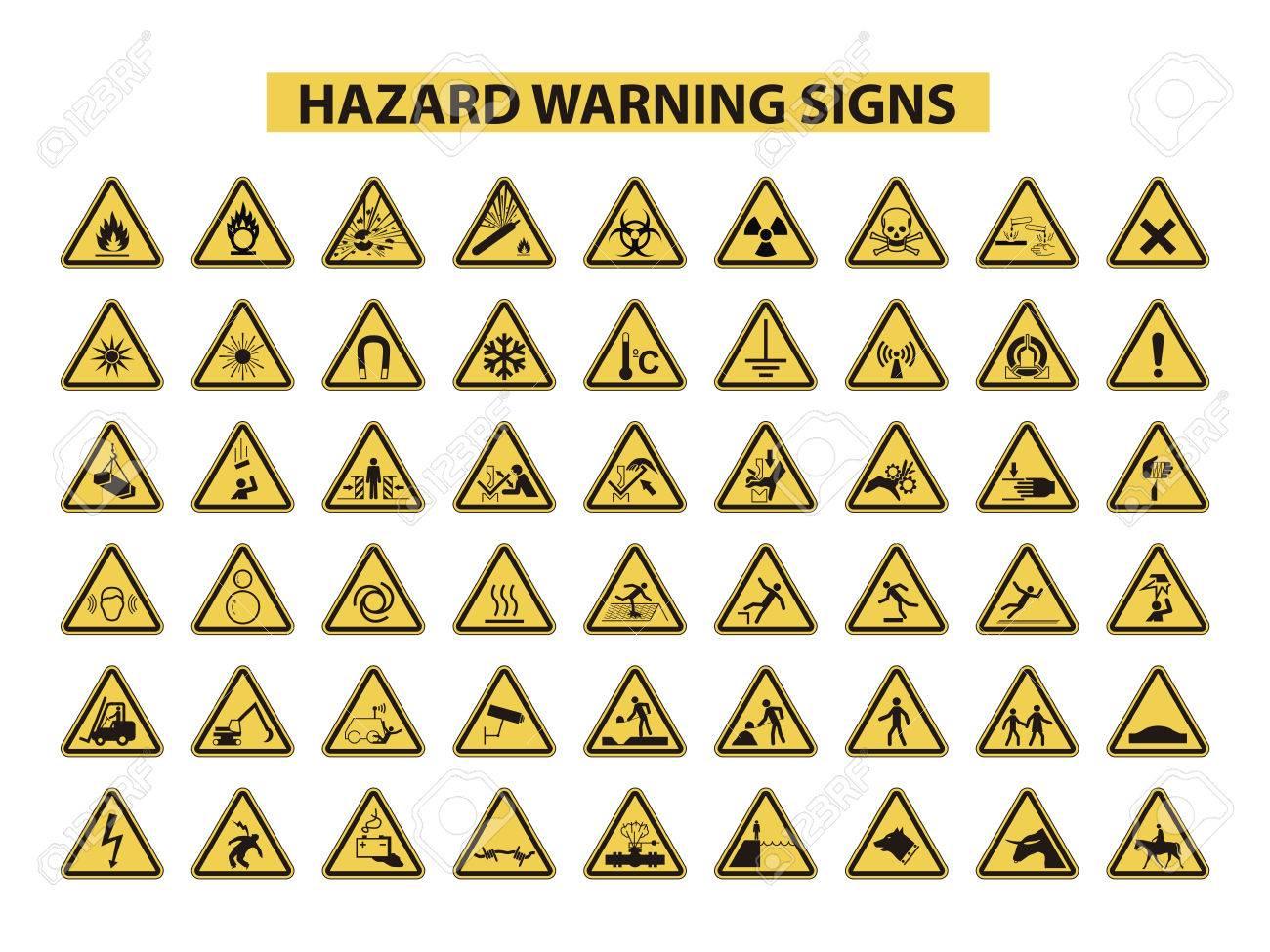 43a4d27a81dd5 Foto de archivo - Un conjunto de señales de advertencia de peligro en el  fondo blanco