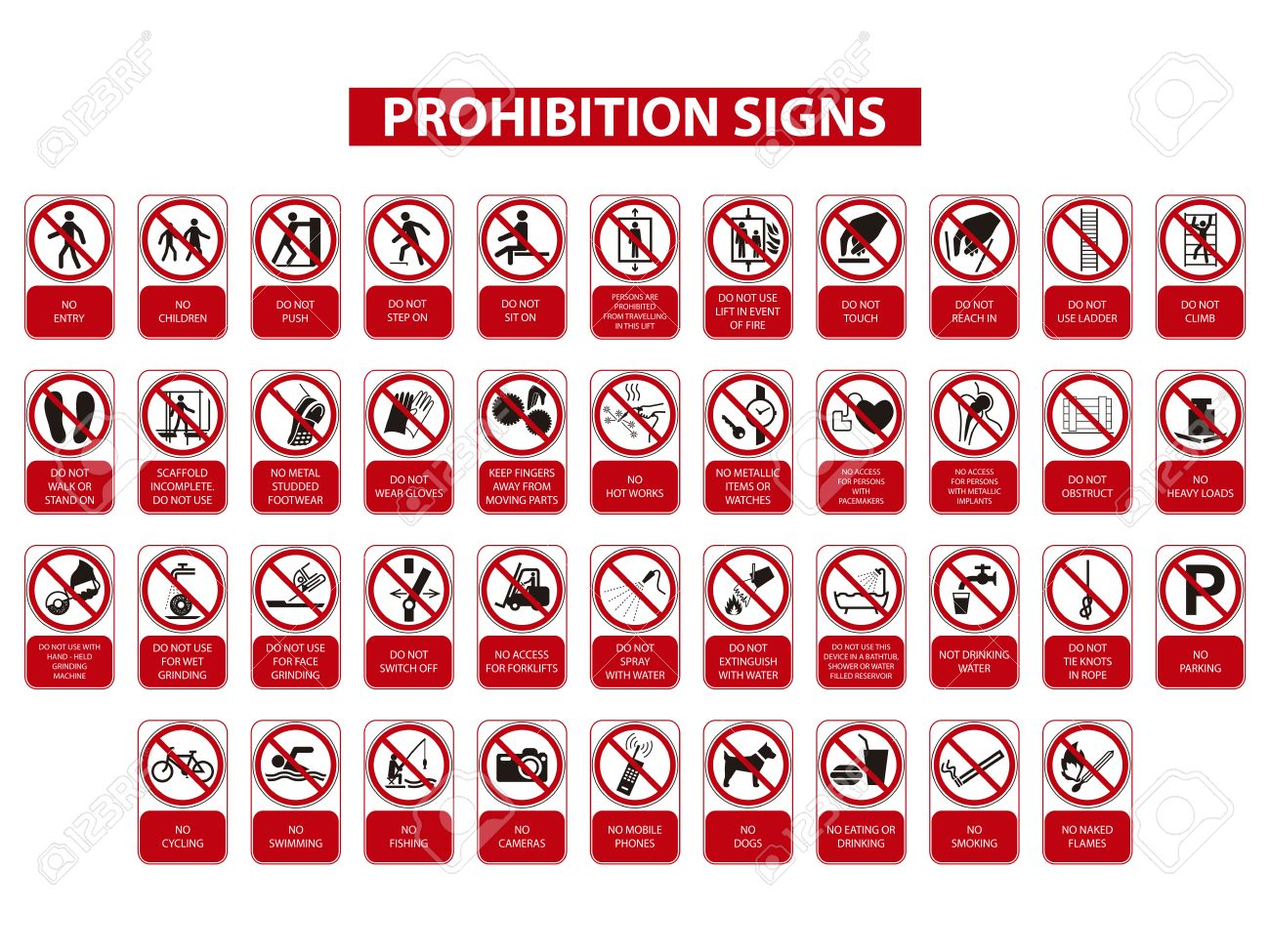 set of prohibition signs on white background - 51431762