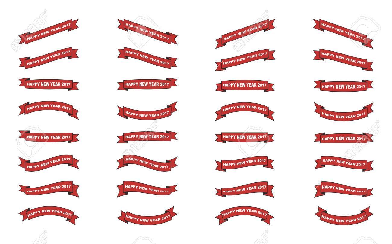 set of isolated christmas ribbons on white background - 69110070