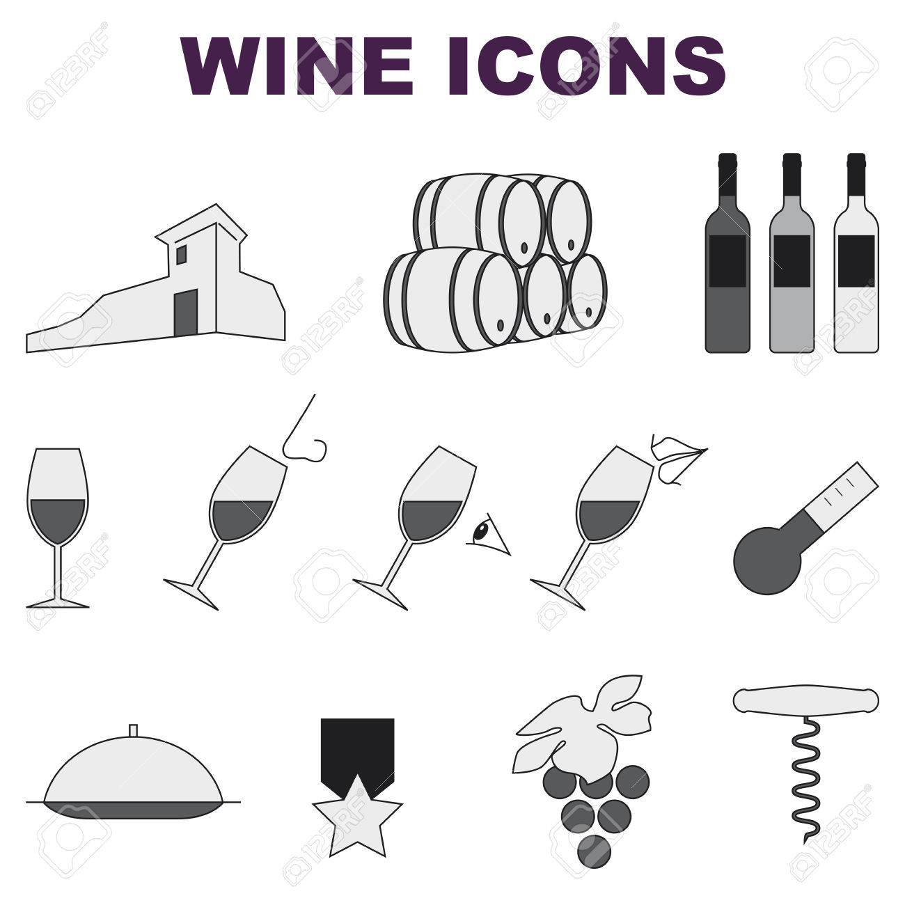 some wine set of icons on white background - 70757386