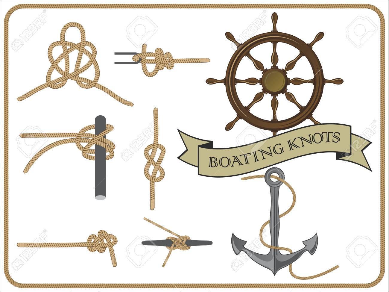 isolated set of boating knots on white background - 74190538