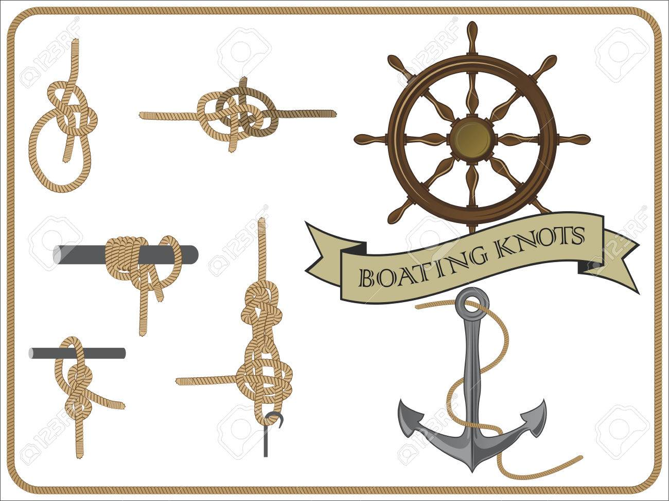 isolated set of boating knots on white background - 74269544