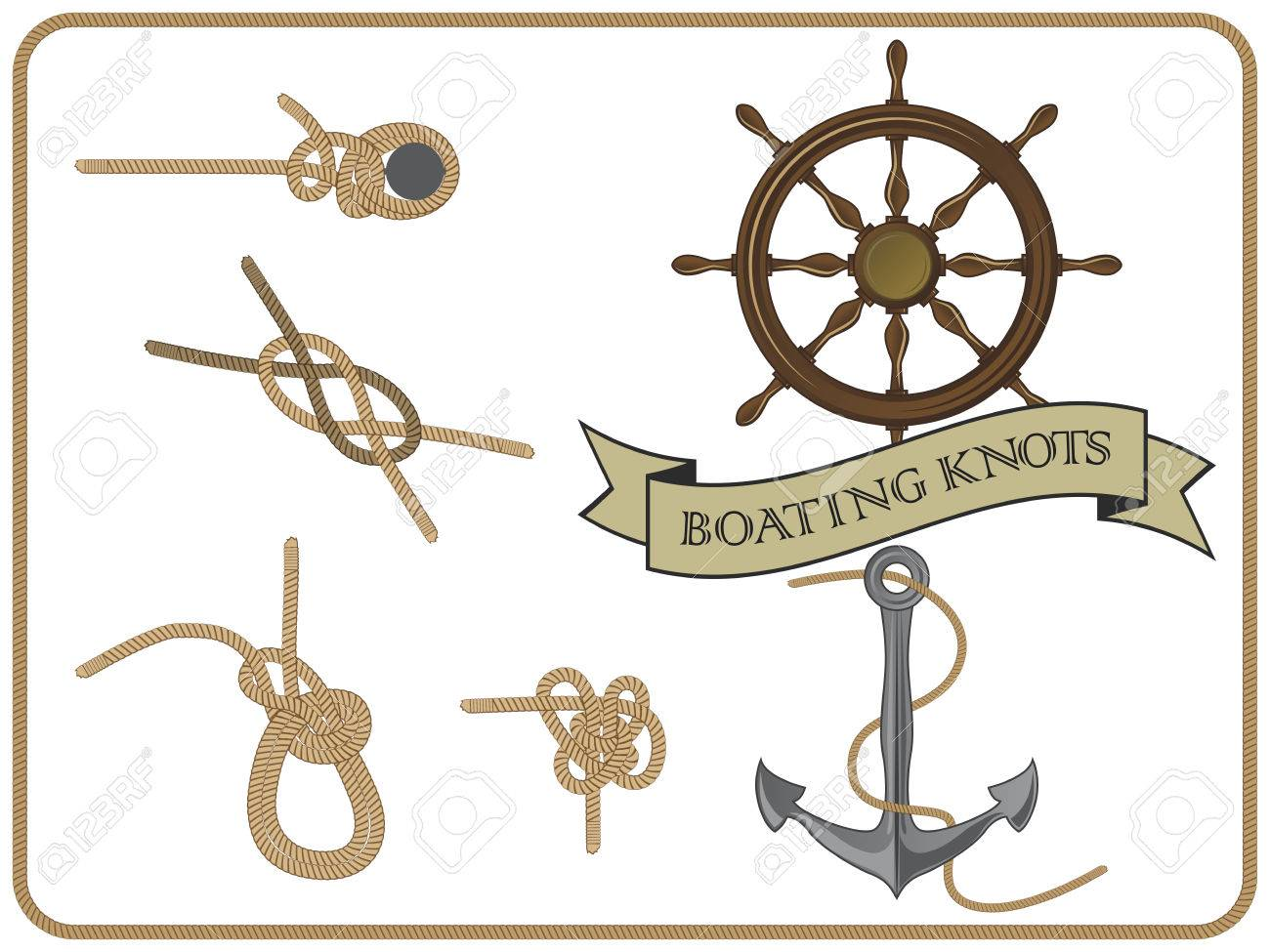 isolated set of boating knots on white background - 74189690