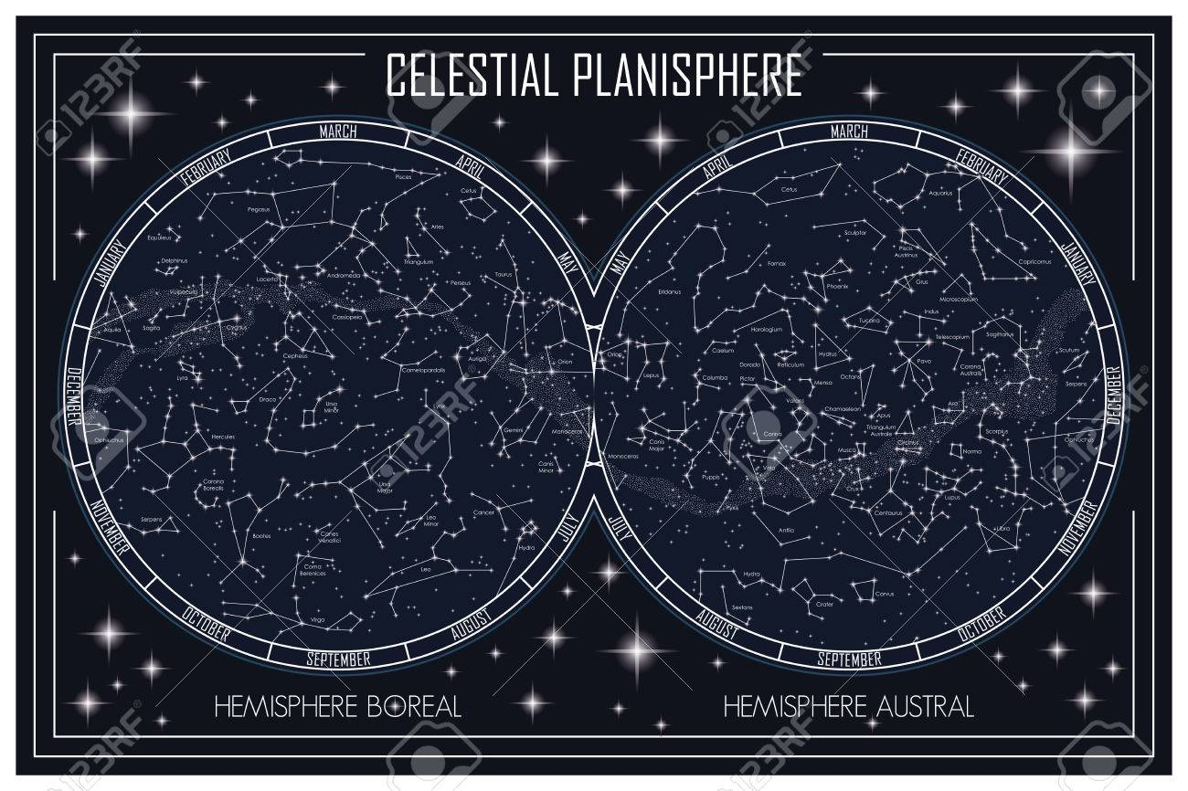 Map of the celestial planisphere and the constellations - 79572926