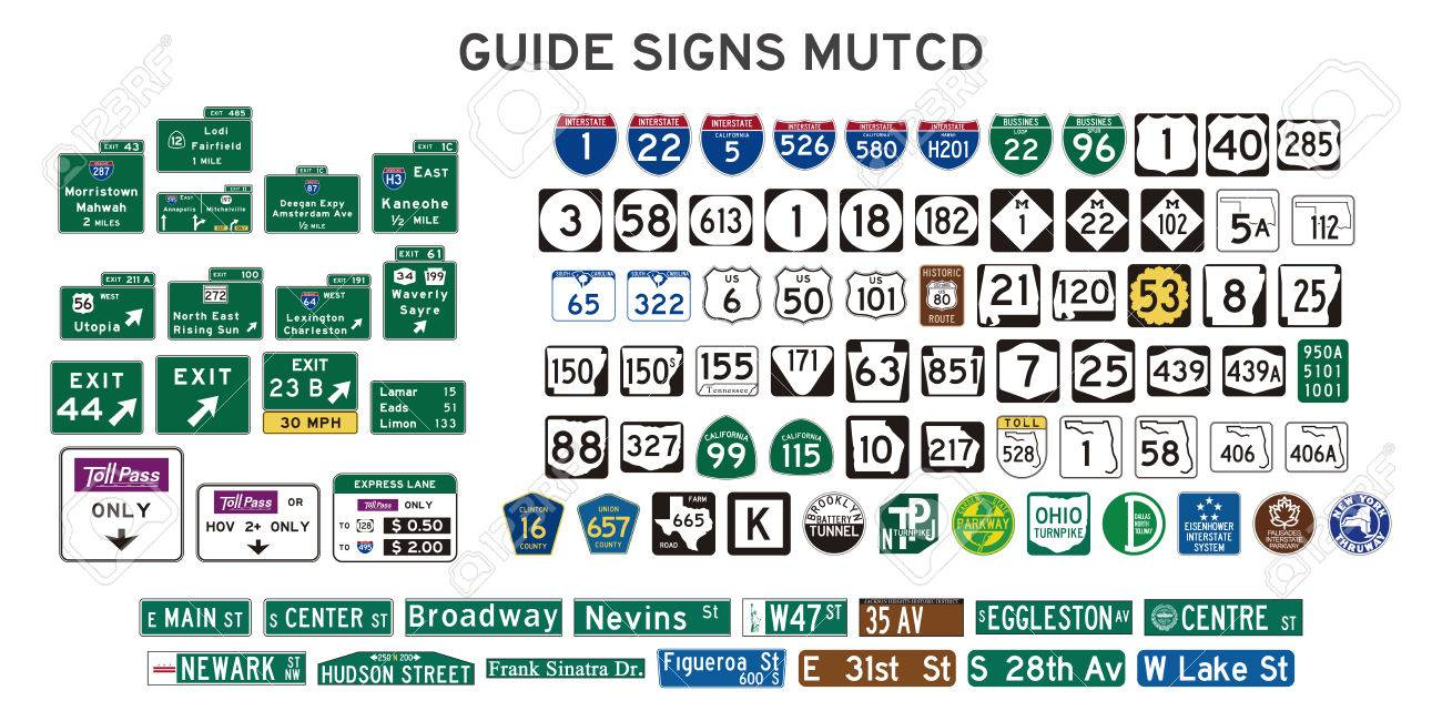 Set of isolated guide signs of usa - 84007826