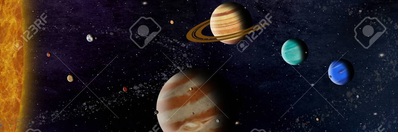 complete solar system with planets and the most important moons and asteroids - 131657068