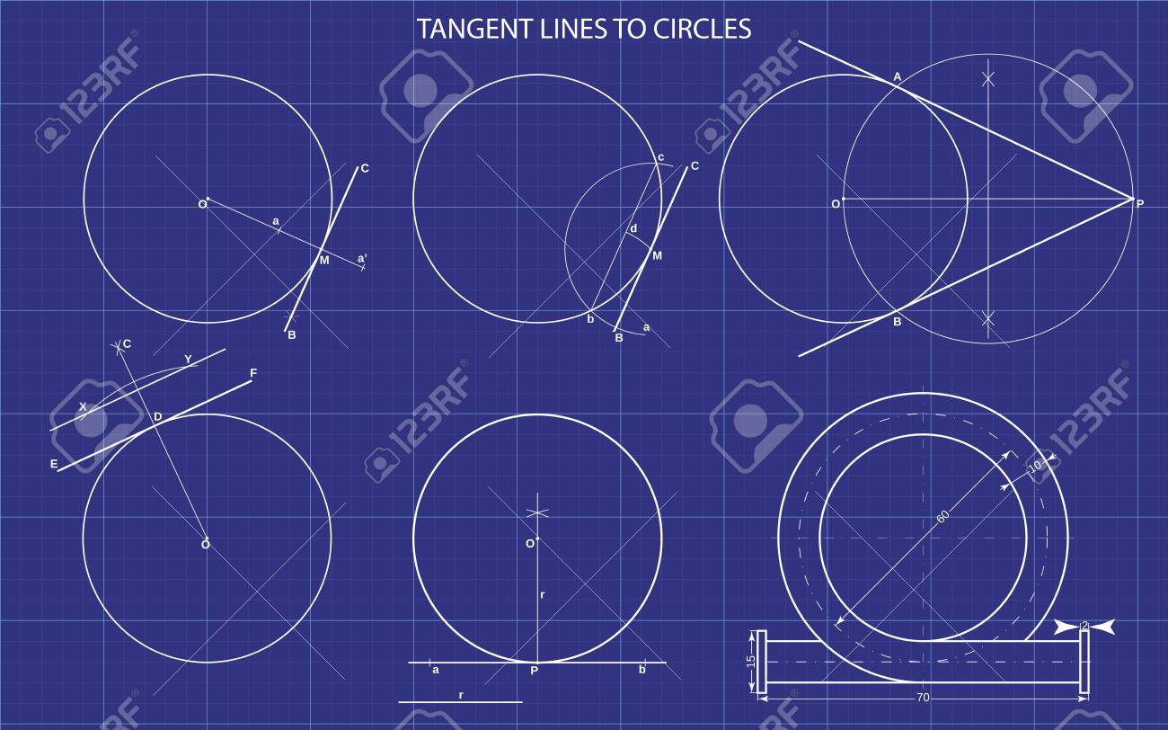 tangent lines to circles on technical background - 131657069