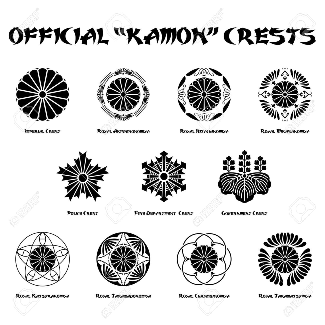 official representative japanese kamon crests on white background - 171405628