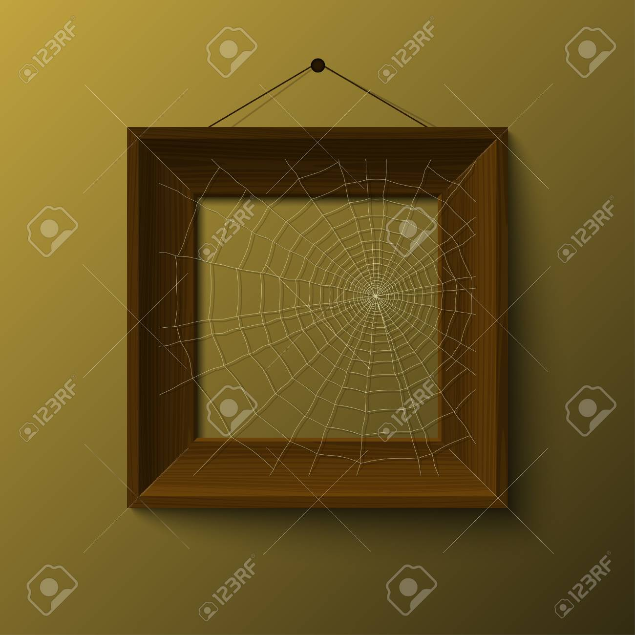 realistick woowen frame with spiderweb vector Stock Vector - 17804693