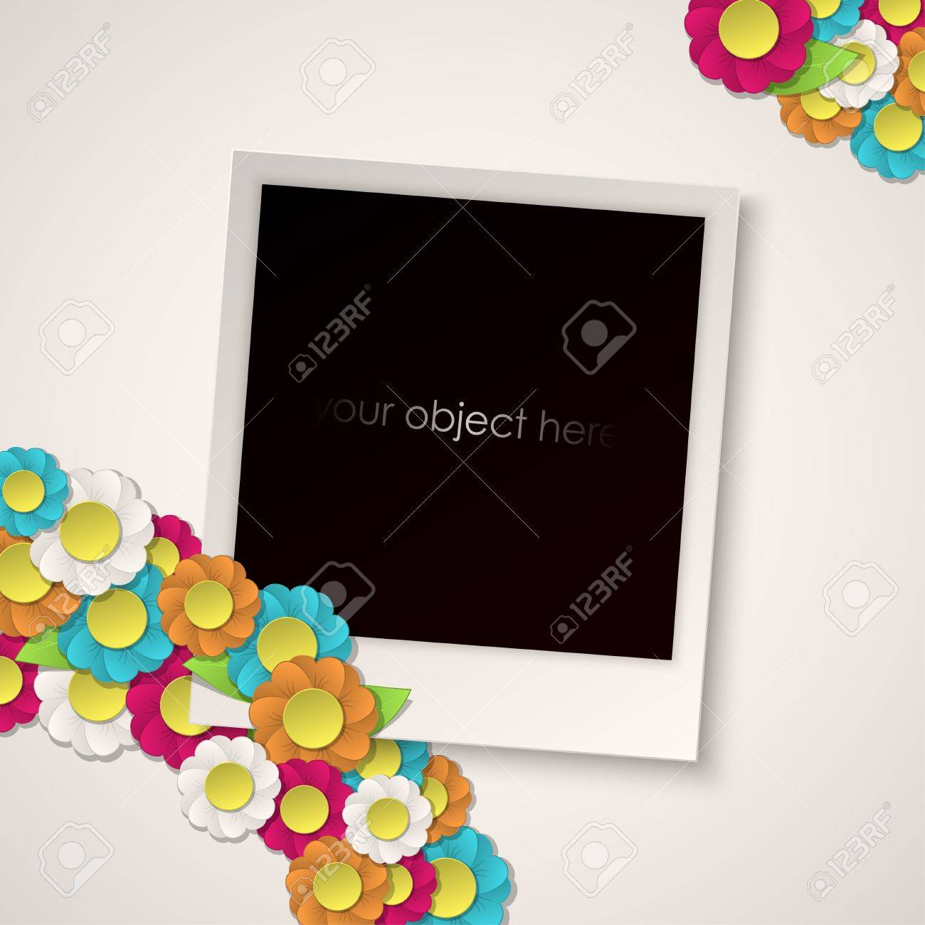 photo frame with paper flowers Stock Vector - 19052964