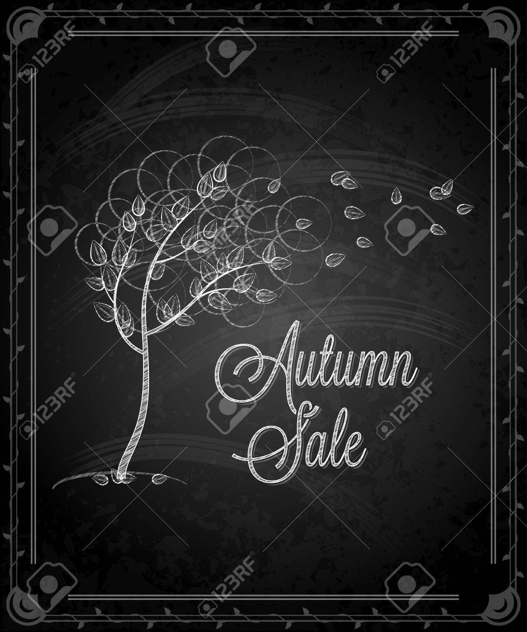 chalkboard - frame autumn menu Stock Vector - 21808092