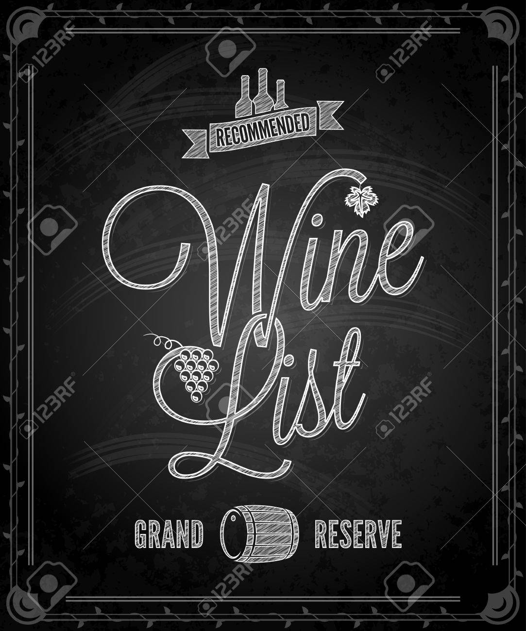 Chalkboard - Frame Wine Menu Royalty Free Cliparts, Vectors, And ...