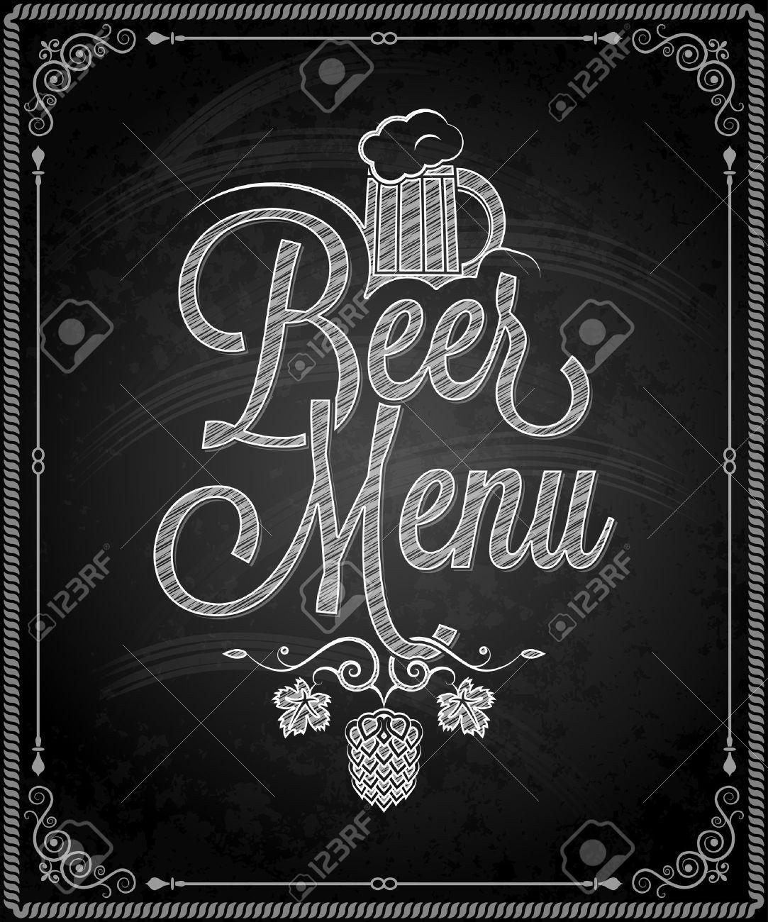 Chalkboard - Frame Beer Menu Royalty Free Cliparts, Vectors, And ...