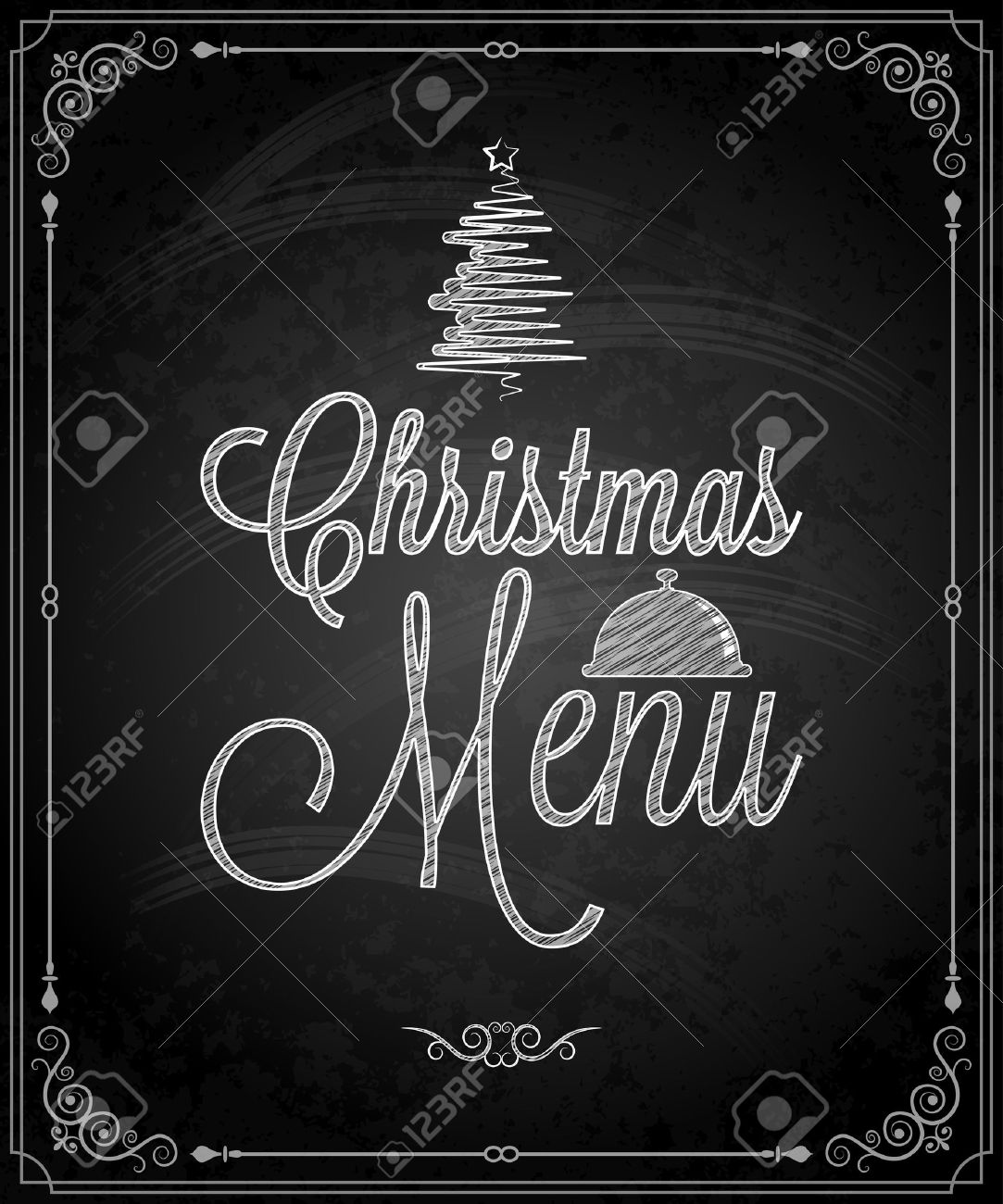 Chalkboard - Frame Merry Christmas Menu Royalty Free Cliparts ...