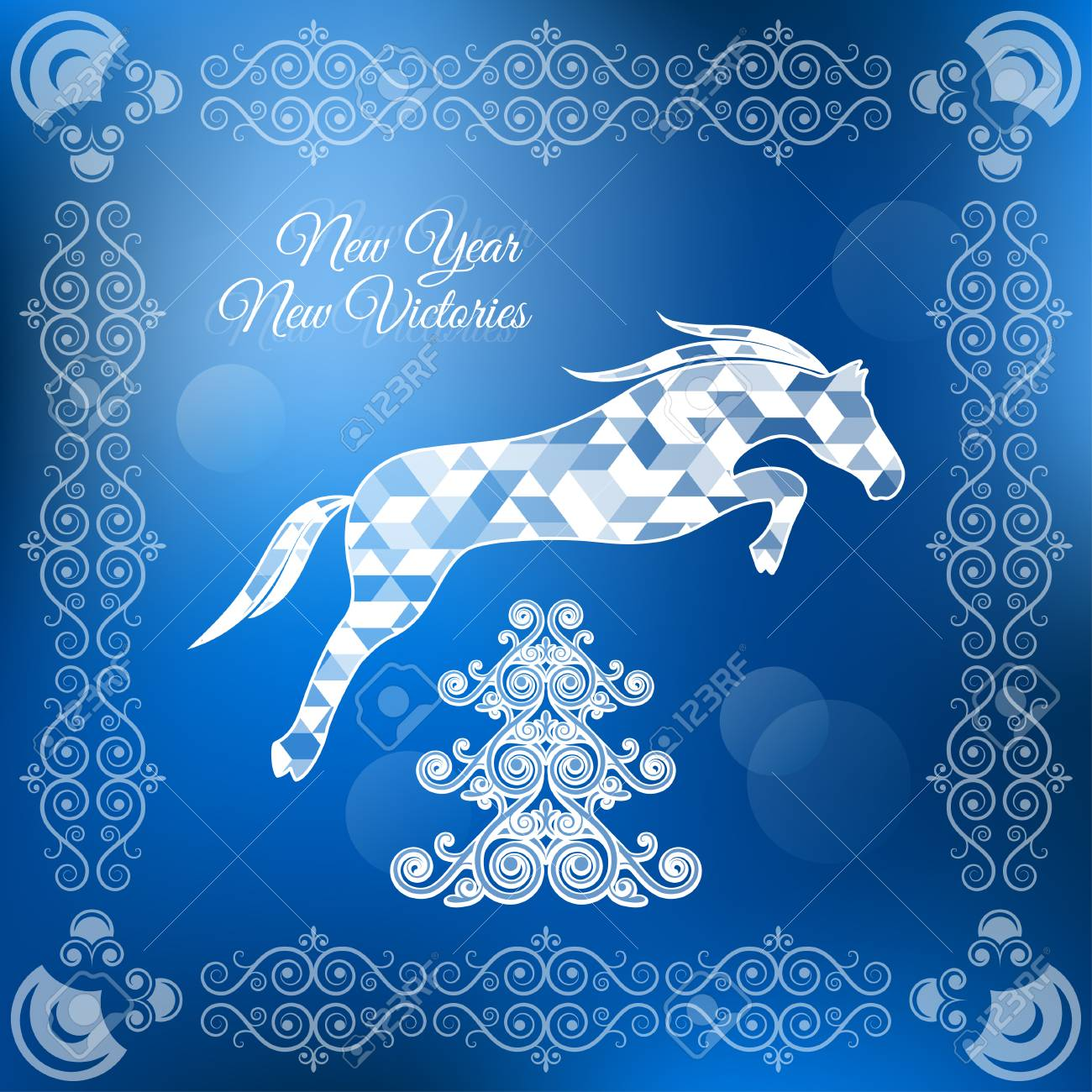 Holiday Frame Happy Merry Christmas New Year Horse Royalty Free Cliparts Vectors And Stock Illustration Image 22734405