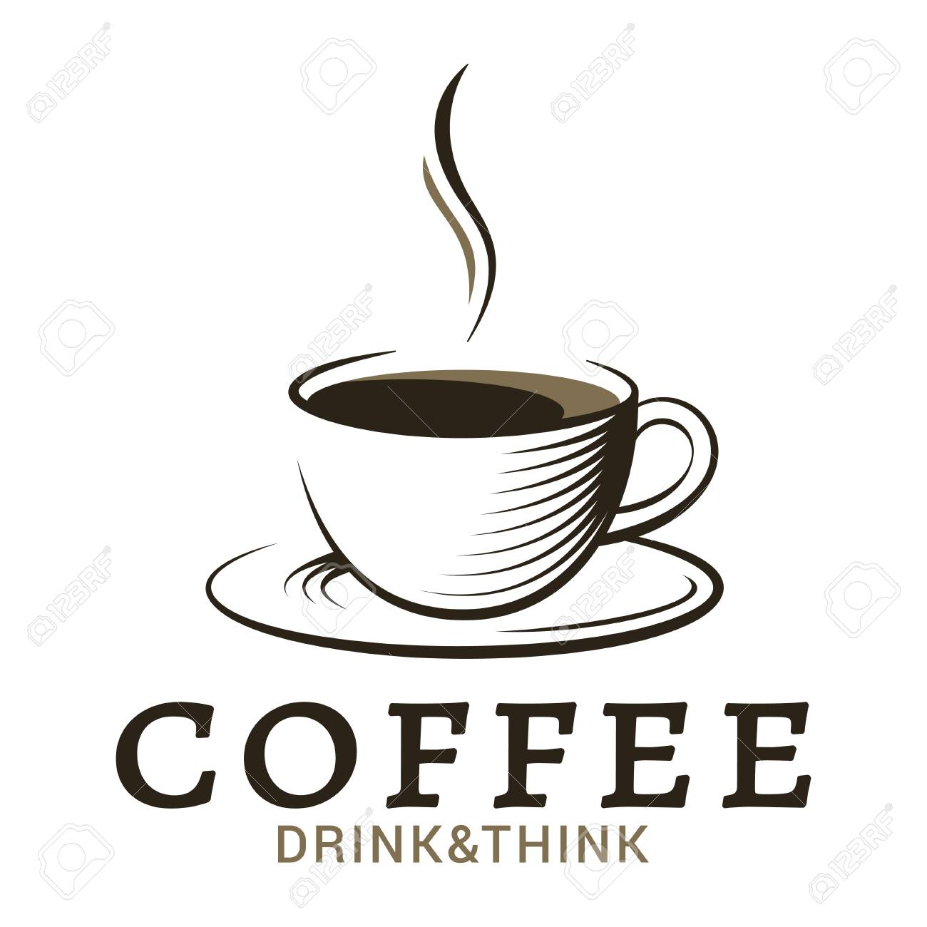 coffee cup vintage logo on white background - 103035966
