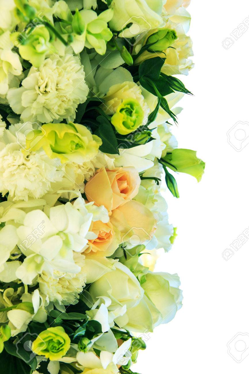 Bouquet Of White And Orange Roses With Carnation Flower On White