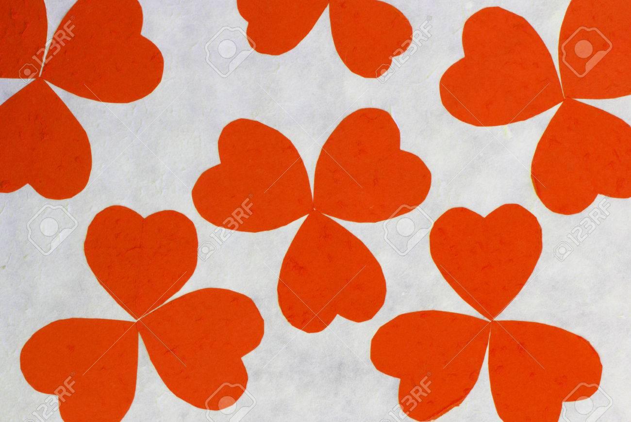 Paper Shape orange flower paper shape on white mulberry paper background stock