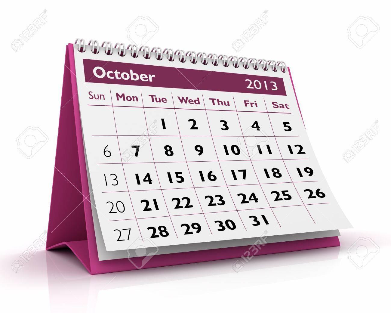 October desktop calendar 2013 in white background Stock Photo - 17380247