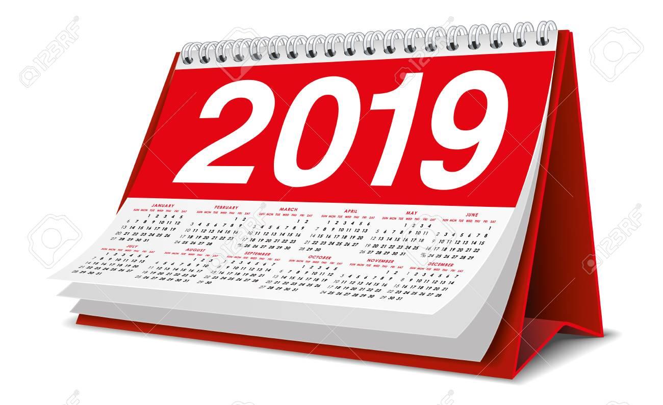 Calendar Desktop 2019 in red color - 106533667