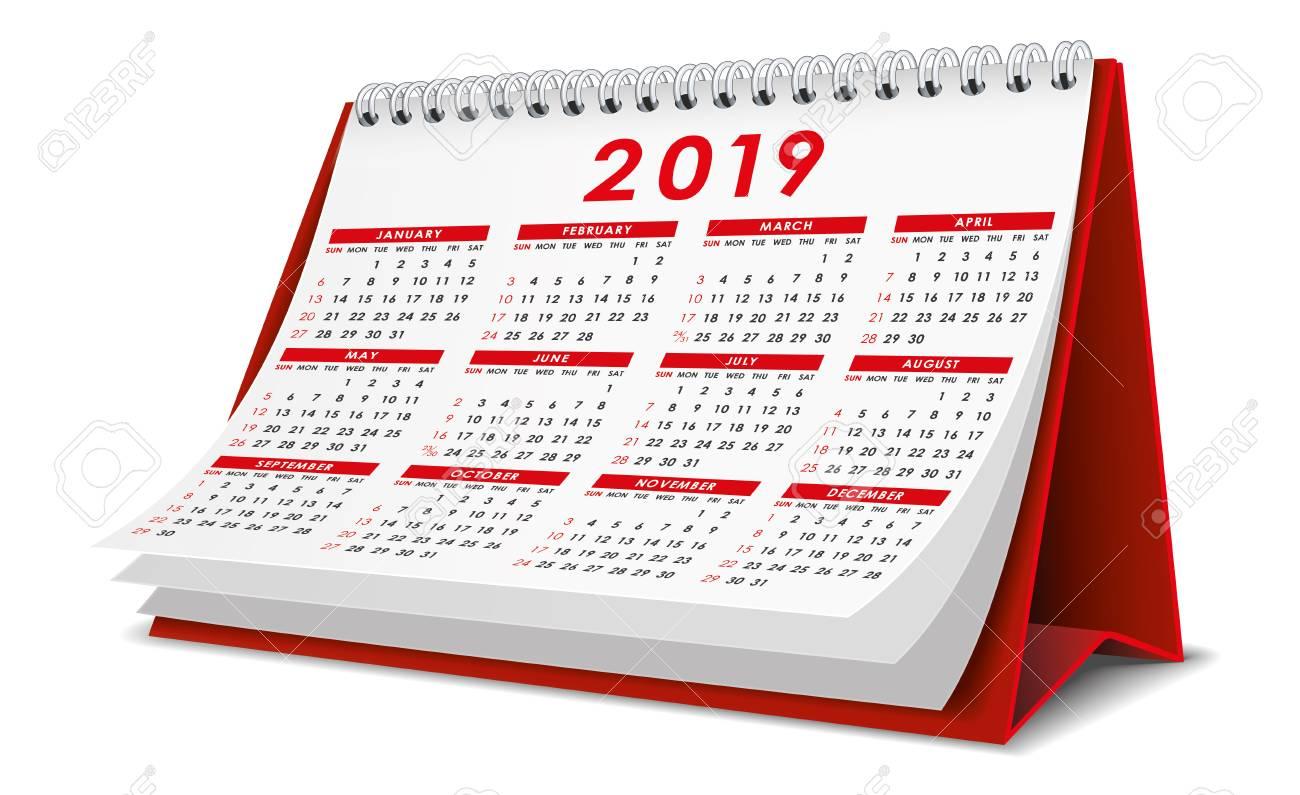 Desktop Calendar 2019 Desktop Calendar 2019 In Red Color Royalty Free Cliparts, Vectors