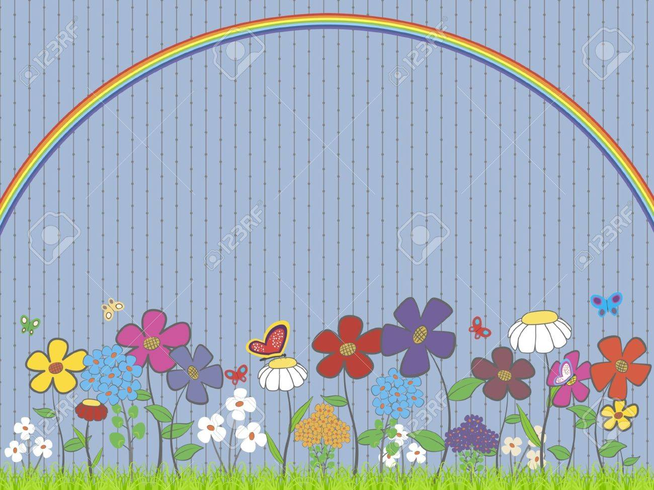 illustration - lawn with flowers and butterflies under the rainbow Stock Vector - 12322640