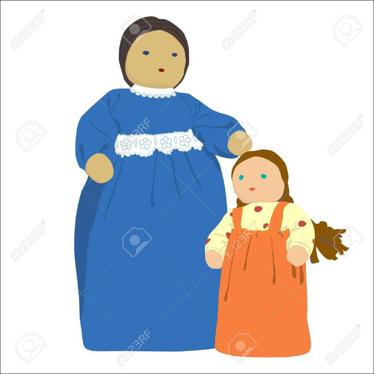 Old fashioned Mother and Daughter illustration  doll  on white background Stock Vector - 13078688