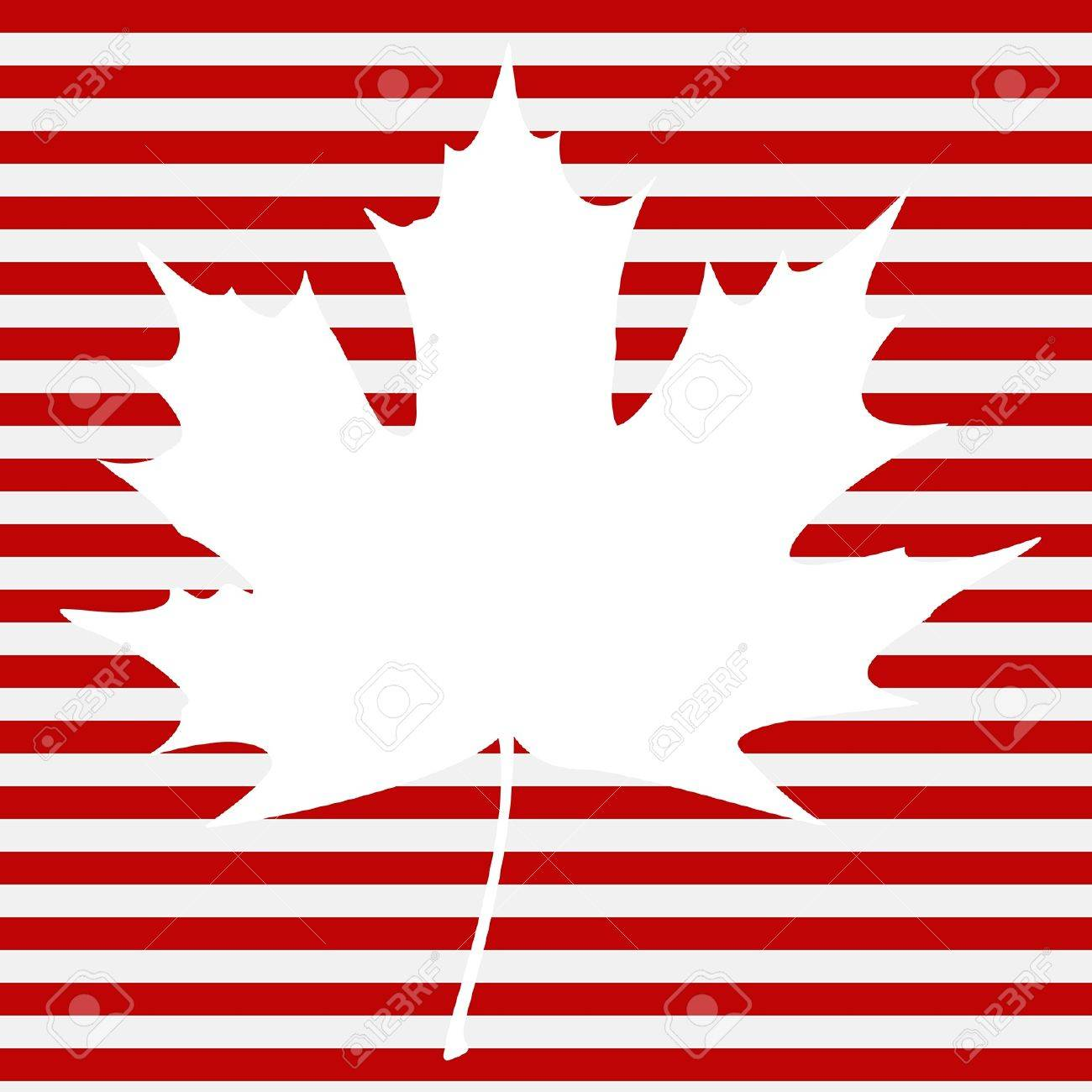 White maple leaf on a striped background. Stock Vector - 15874756