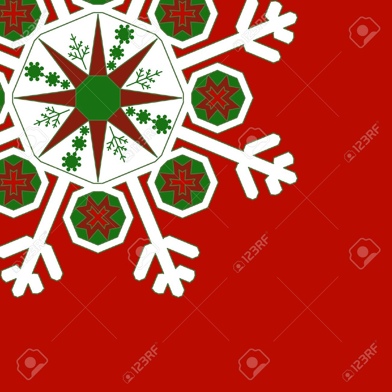 Decorative graphic snowflake on a red background. With space for text or image. vector Stock Vector - 16762285