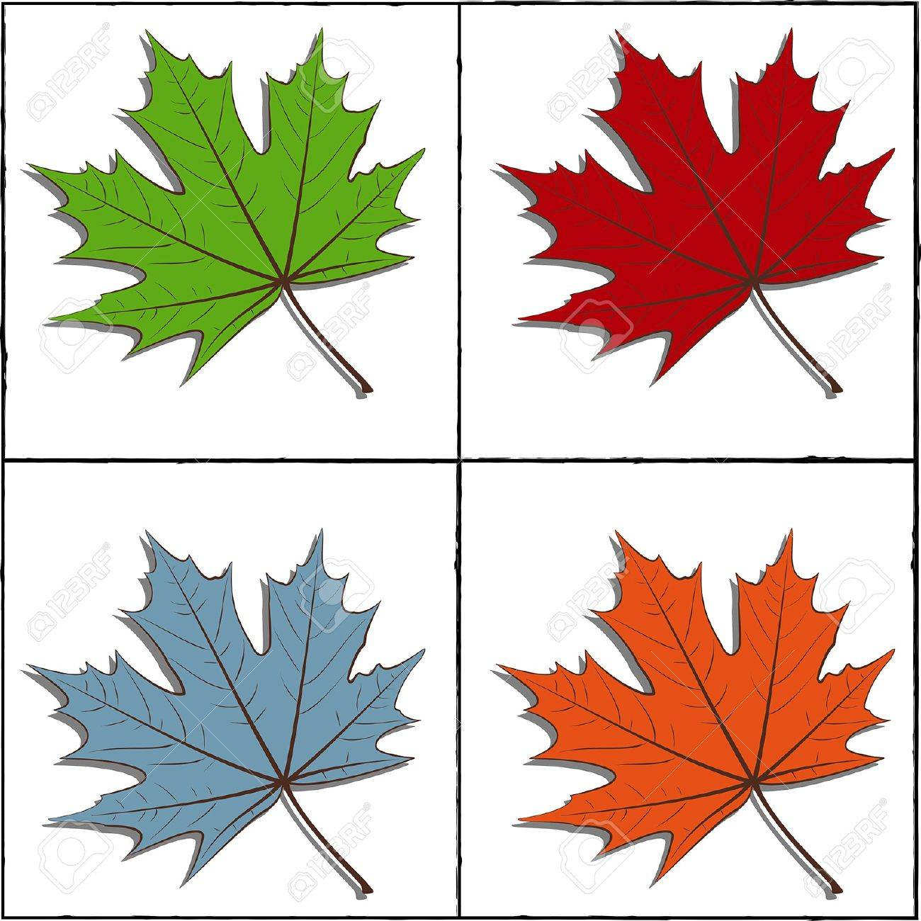 Maple Leafs for four seasons. In the frame. EPS10 vector. Stock Vector - 17667224