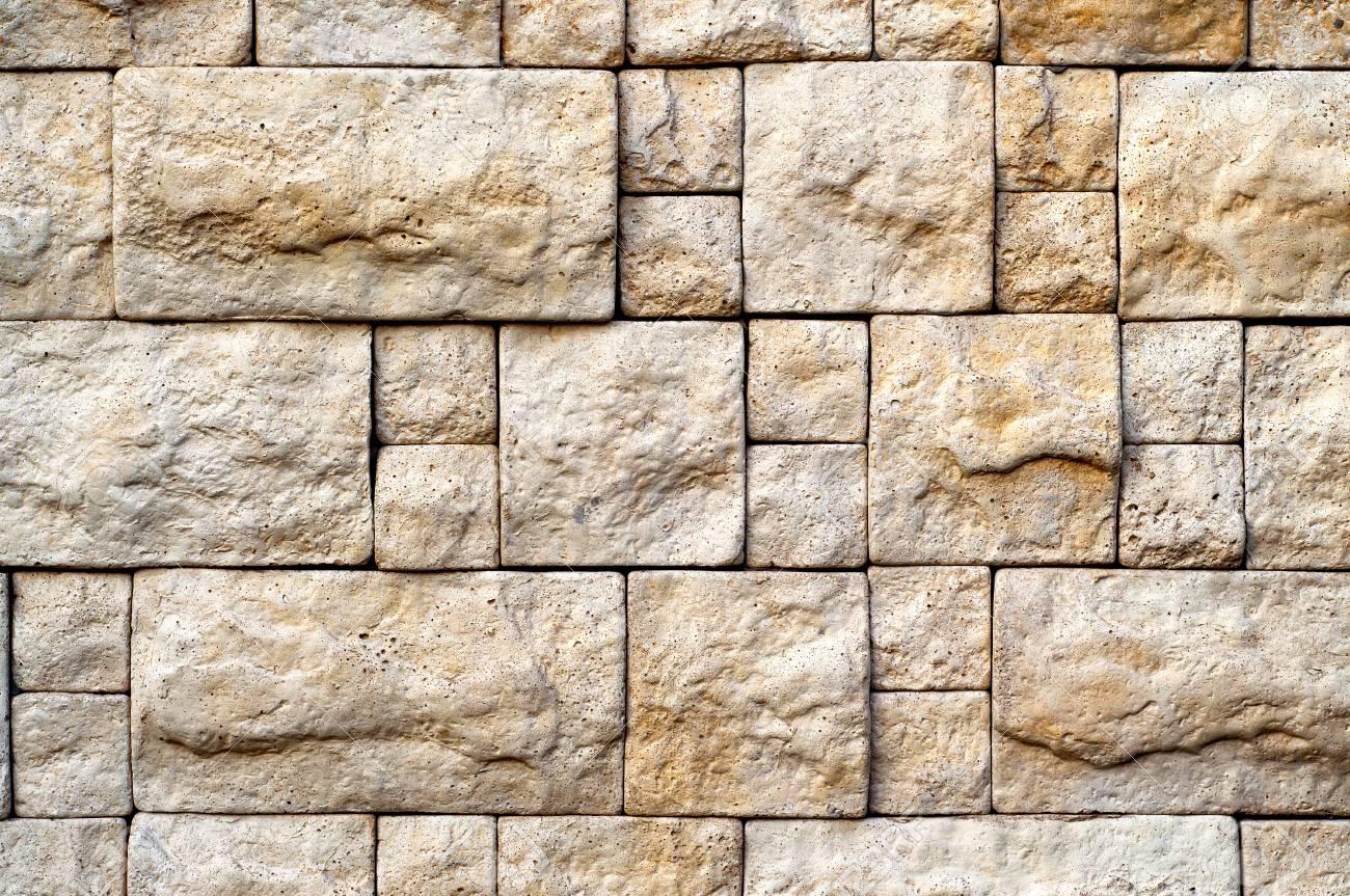 Amazing Dekorative Bege Stein Zufällige Größe Ziegelmauer Textur Für Ihr Design.  Standard Bild   57564794