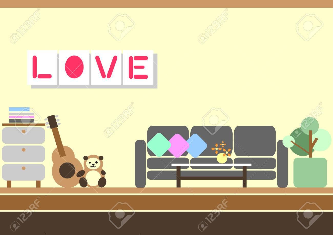 Lovely Living Room Flat Design Vector Illustration Stock